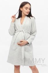 Комплект халат с сорочкой серый меланж 103.02.56